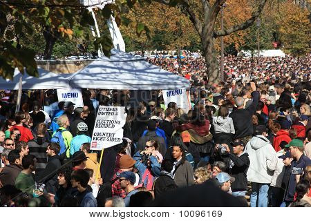 crowd and signs