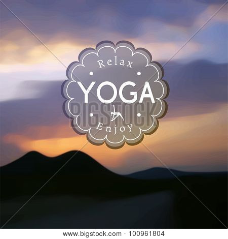 Name of yoga studio on a blurred hills background.