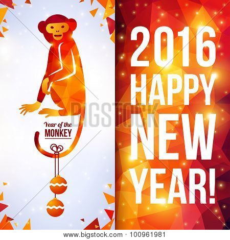 Two sides vertical flyer with geometric pattern Monkey. New Year 2016.