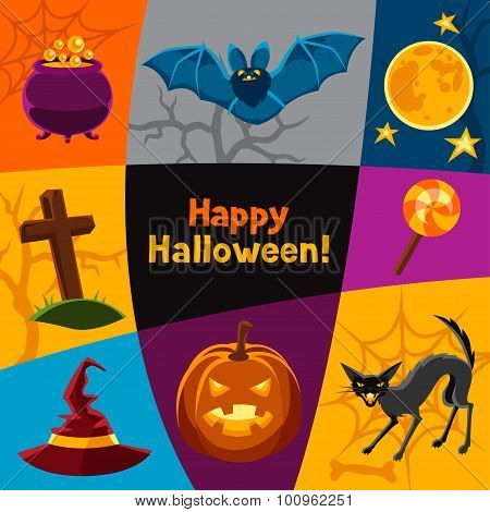 Happy halloween greeting card with characters and objects