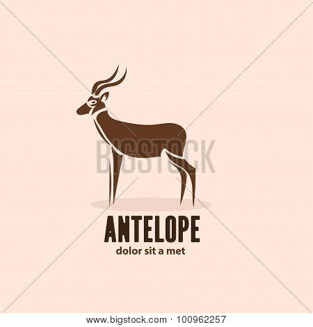 Artistic Stylized Antelope Icon. Silhouette Wild Animals. Creative Art Logo Design. Vector Illustrat