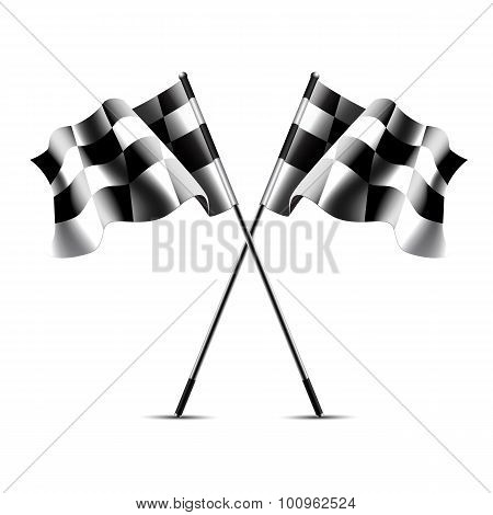 Two crossed checkered racing flags.