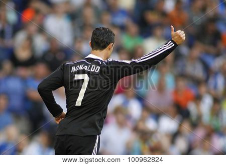 BARCELONA - MAY, 2015: Cristiano Ronaldo of Real Madrid celebrating a goal during a Spanish League match against RCD Espanyol at the Power8 stadium on Maig 17 2015 in Barcelona Spain
