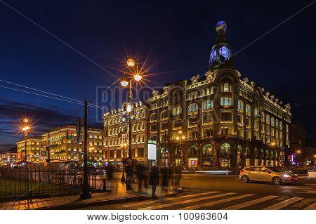 House Of Books (singer House) On Nevsky Prospect At Night Illumination, Saint Petersburg