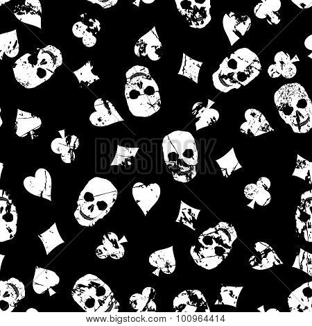 Grunge Background With Skulls.
