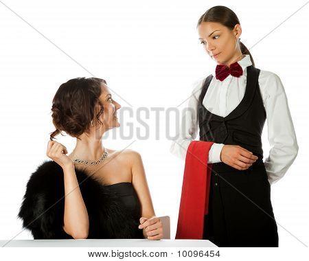 Woman Ordering Waitress