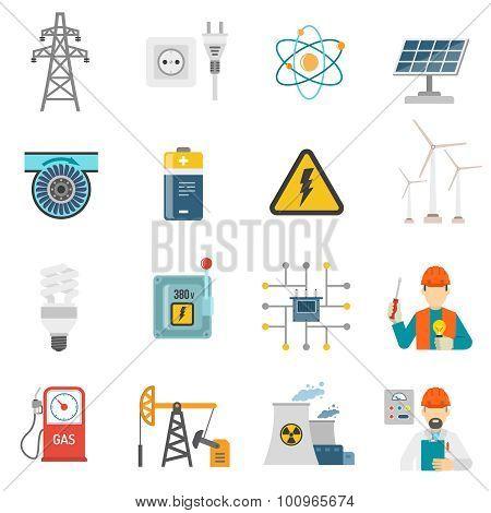 Energy power flat icons set