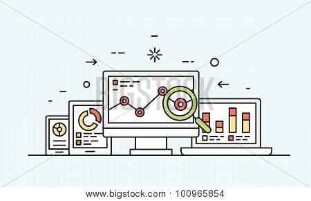 Vector Concept Of Website Analytics Search Information And Computing Data Analysis Using Electronic
