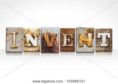 Invent Letterpress Concept Isolated On White