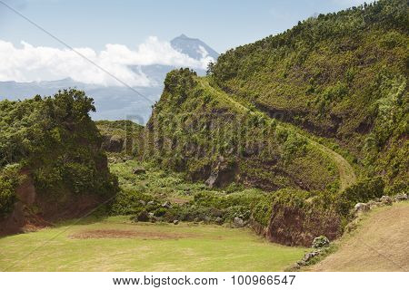 Azores Green Landscape In Sao Jorge And Pico Island. Portugal