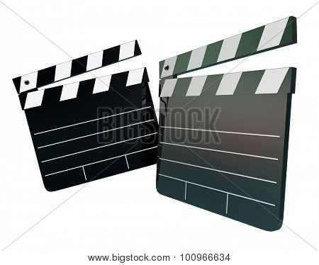 Two movie clapper boards with blank space to place your words or message, illustrating entertainment, film making, auditions, talent show or directing