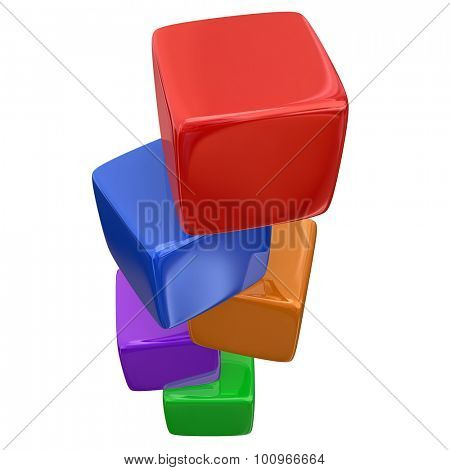 Stacked colorful cubes, boxes or blocks for teaching and learning the basic fundamentals of a subject