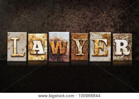 Lawyer Letterpress Concept On Dark Background