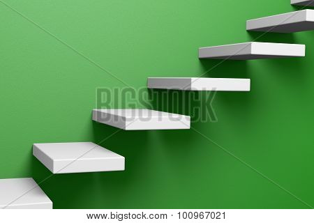 Ascending Stairs On The Green Wall