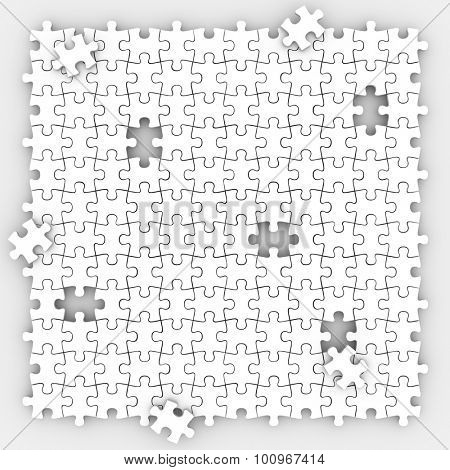 Puzzle pieces background with holes missing trying to fill the empty spaces in playing game