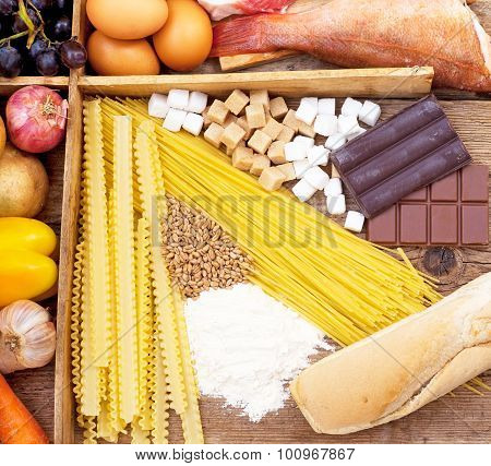 Food full of Carbohydrates, pasta, bread, candies