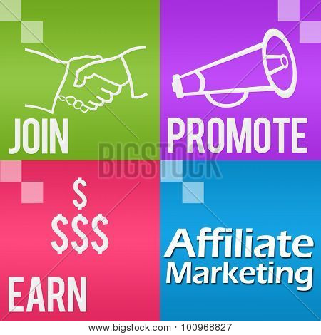 Affiliate Marketing Four Colorful Blocks Square