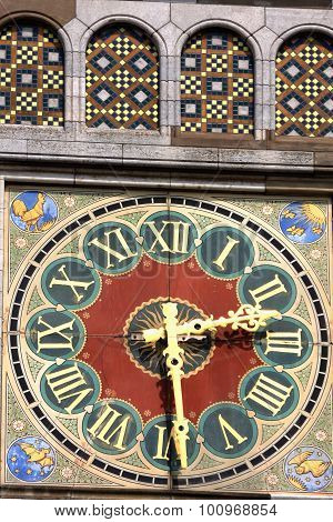 Beautiful Detail, Clock With Roman Numerals On Amsterdam Train Station.