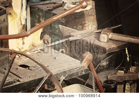 Blacksmith Workshop With Anvil And Fire.
