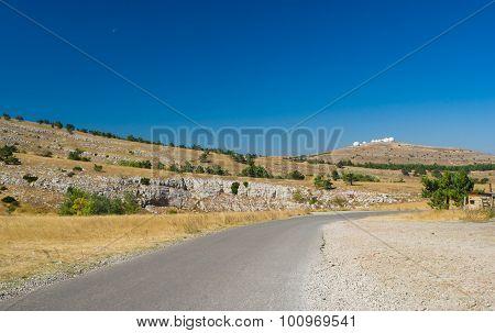 Autumnal landscape on Ai-Petri mountain tableland in Crimean peninsula