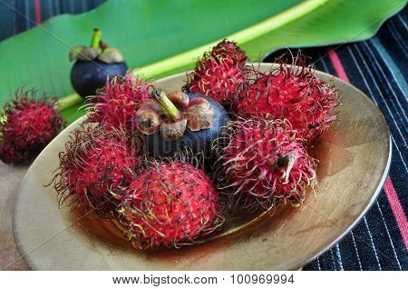 Exotic Fruits Rambutan And Mangosteen