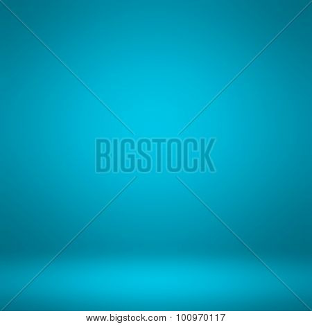 Abstract illustration background texture of dark and light clear blue, azure, cyan and turquoise gradient flat wall and floor in empty spacious room interior