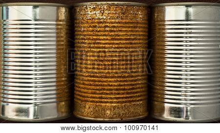 food container tin cans background