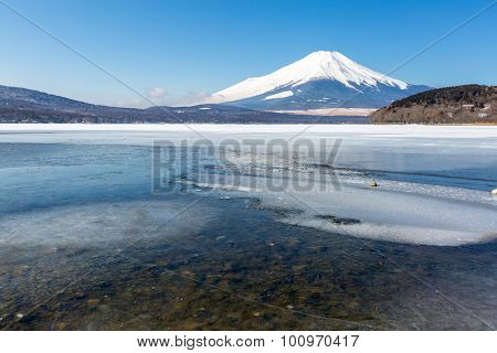 Mount Fuji at Iced Yamanaka Lake in Winter