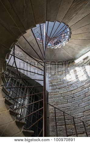 Stone Spiral Staircase In St. Isaac's Cathedral In St. Petersburg, Russia