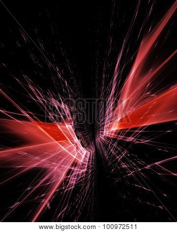 Abstract background. Vertical 3d composition of two infinite distorted grids. Detailed computer graphics.