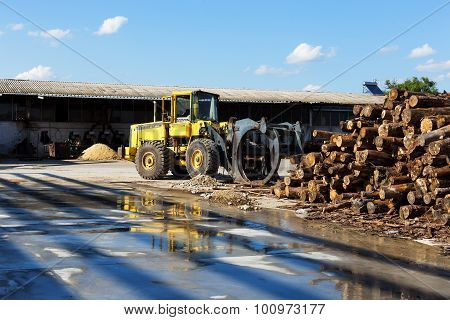 Log Loader Working A Lumber Mill Logging Truck