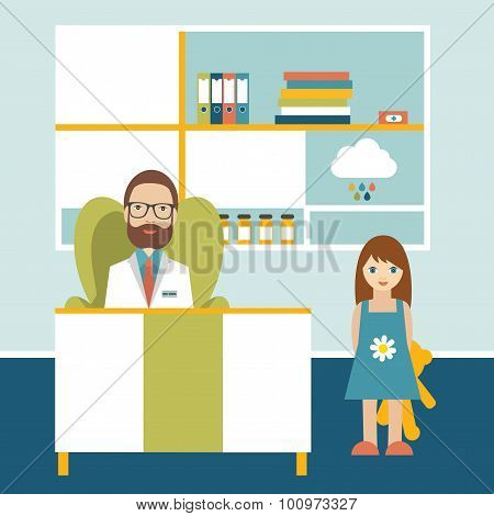 Doctor And Little Patient In Office Surgery.