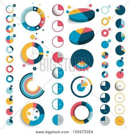 Mega Set Of 3D, Plastic And Flat Circle Charts.