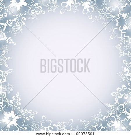 Winter Luxury Round Frame With Snowflakes
