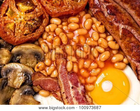 Full English Breakfast Food Background