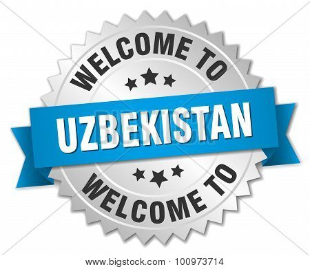 Uzbekistan 3D Silver Badge With Blue Ribbon
