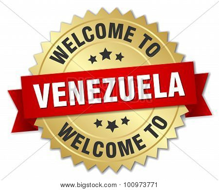 Venezuela 3D Gold Badge With Red Ribbon