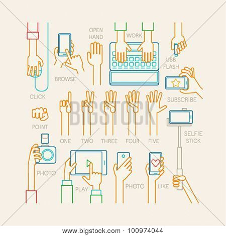 Hands set - line style. Vector illustration.