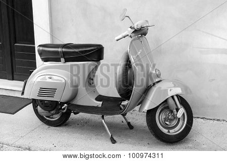 Classical Vespa Scooter Stands Parked