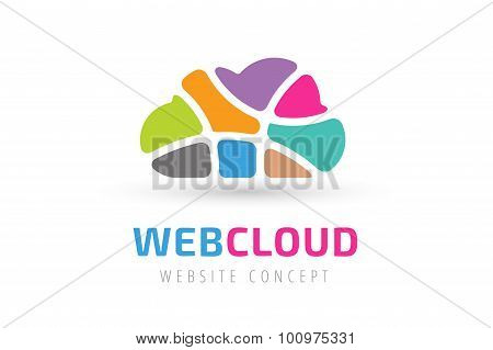Abstract net cloud vector logo