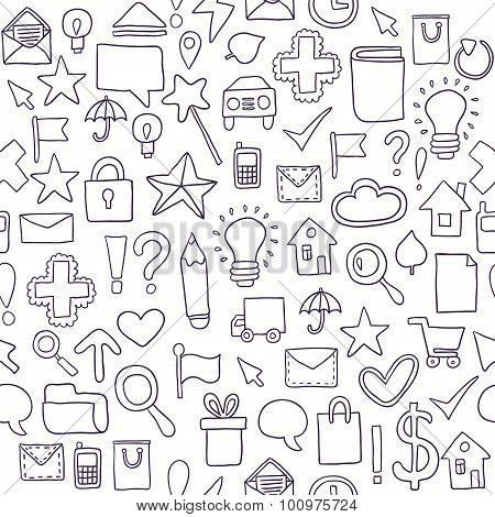 Seamless pattern Icons. Vector illustration