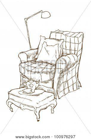 Interior Fragment Sketch. Vector Illustration.