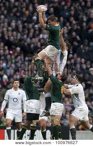 TWICKENHAM LONDON, 27 NOVEMBER 2010. South Africa win a lineout  during the Investec International match between England and South Africa at Twickenham Stadium Middlesex England.
