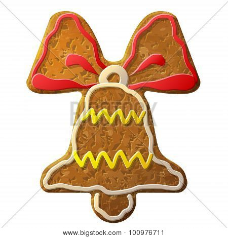 Gingerbread Bell Symbol Decorated Colored Icing
