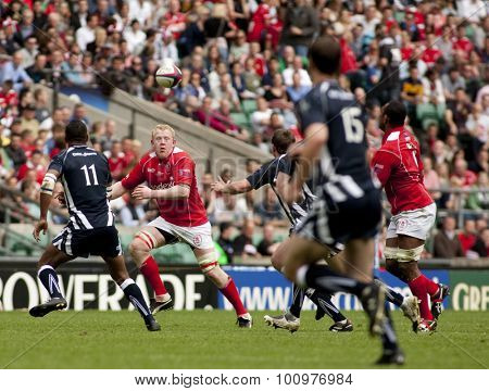 TWICKENHAM, ENGLAND. 01 MAY 2010. Army's no 7 Capt Mark Lee (Captain) of the Adjutant General's Corps in watches the ball in flight during the rugby union match between The Army and The Navy.