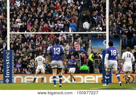 TWICKENHAM LONDON, 20 NOVEMBER 2010. England's Matt Banahan, celebrates scoring a try during the Investec International match between England and Samoa at Twickenham Stadium Middlesex England.