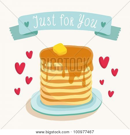 Valentine's Day Greeting Card Design With Romantic Breakfast