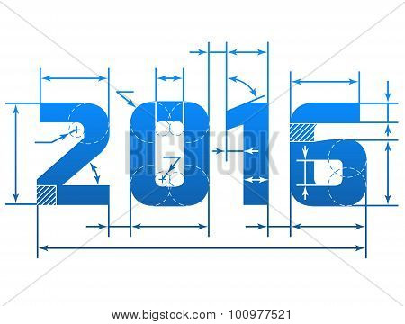 New Year 2016 Number With Dimension Lines
