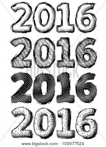 Hand Drawn New Year 2016