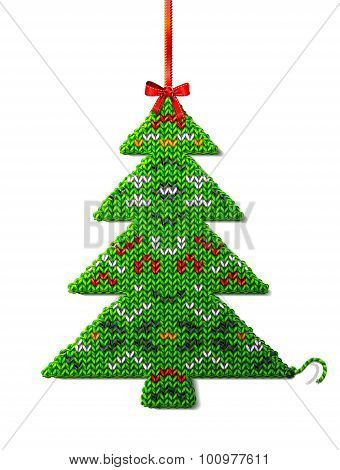 Christmas Tree Of Knitted Fabric With Ornament